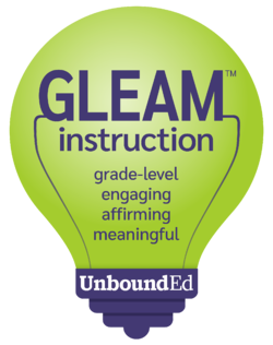 Gleam green lightbulb logo with the words grade-level, engaging, affirming, and meaningful